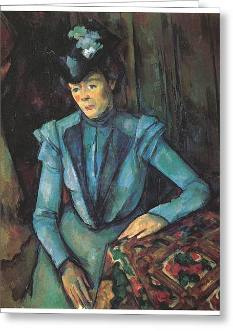 Woman In A Dress Greeting Cards - Woman Seated in Blue Greeting Card by Paul Cezanne