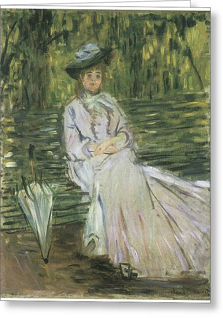 Woman In A Dress Greeting Cards - Woman Seated on a Bench Greeting Card by Claude Monet