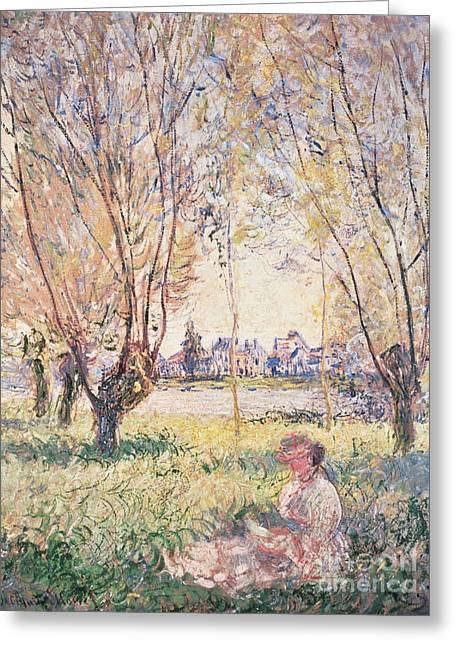 Soft Light Paintings Greeting Cards - Woman seated under the Willows Greeting Card by Claude Monet