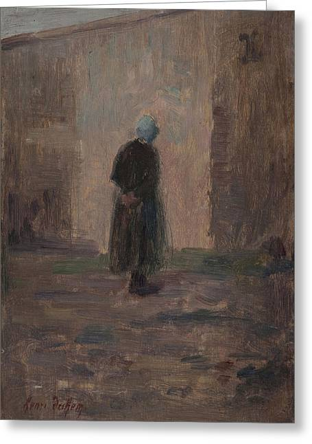 Seen Greeting Cards - Woman Seen From Behind Standing Before A Wall Oil On Panel Greeting Card by Henri Duhem