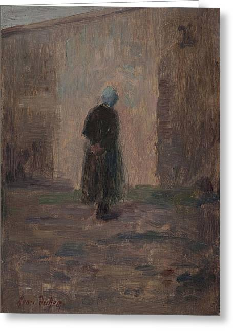 Woman Seen From Behind Standing Before A Wall  Greeting Card by Henri Duhem