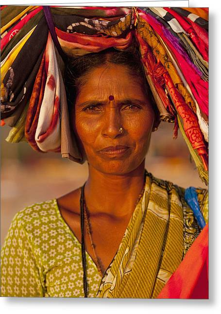 Wise Woman Greeting Cards - Woman Selling Cloth At Dusk Candolim Greeting Card by Ian Cumming