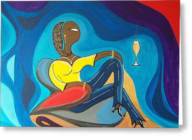 John Lyes Greeting Cards - Woman Sitting in Chair Surrounded by Female Spirits Greeting Card by John Lyes