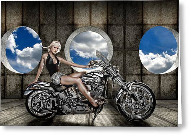 Handlebar Greeting Cards - Woman Sitting On A Motorcycle Greeting Card by Panoramic Images