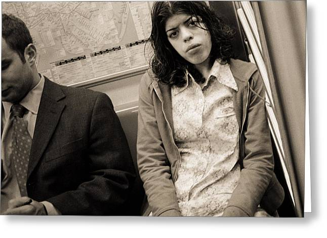 New Yorker Greeting Cards - Woman Sitting On A Subway And Staring, 2004 Bw Photo Greeting Card by Stephen Spiller