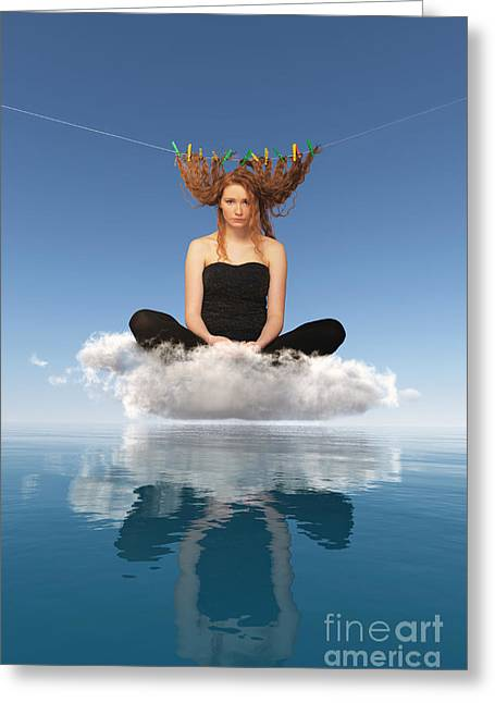 Clean Water Mixed Media Greeting Cards - Woman Sitting On Cloud And Drying Red Hairs Greeting Card by Aleksey Tugolukov