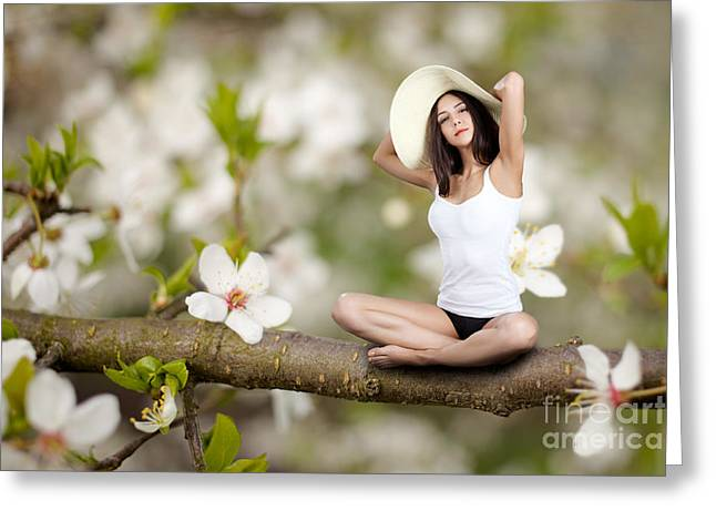 Satisfaction Greeting Cards - Woman Sitting On Tree Greeting Card by Aleksey Tugolukov