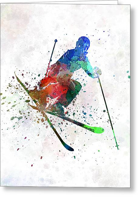 Freestyle Greeting Cards - Woman Skier Freestyler Jumping Greeting Card by Pablo Romero