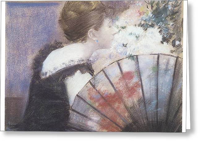 Woman Smelling Flowers Greeting Card by Jean-Louis Forain