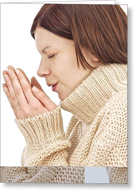 Reflex Greeting Cards - Woman sneezing Greeting Card by Science Photo Library