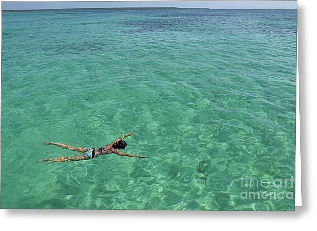 One Piece Swimsuit Greeting Cards - Woman snorkeling by turquoise sea Greeting Card by Sami Sarkis