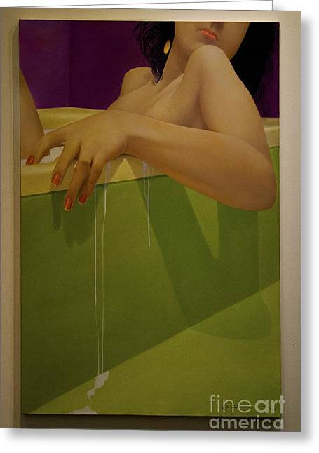 Unwind Photographs Greeting Cards - Woman Soaking In A Bathtub Greeting Card by Al Bourassa