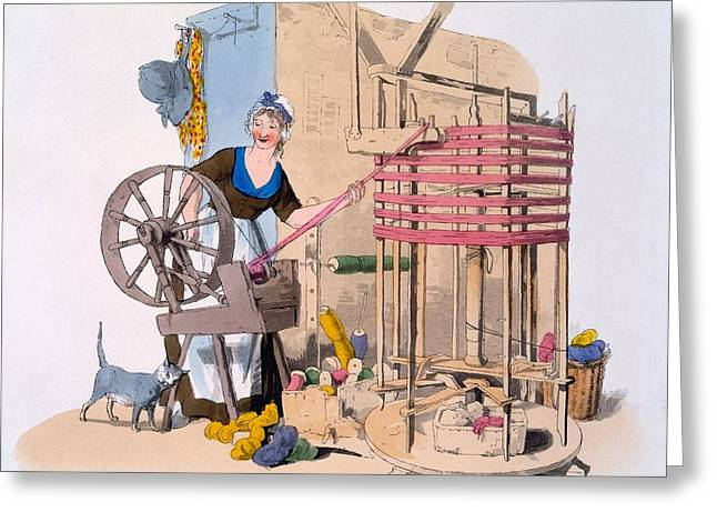 Cat Woman Greeting Cards - Woman Spinning Wool Onto A Rotating Greeting Card by William Henry Pyne