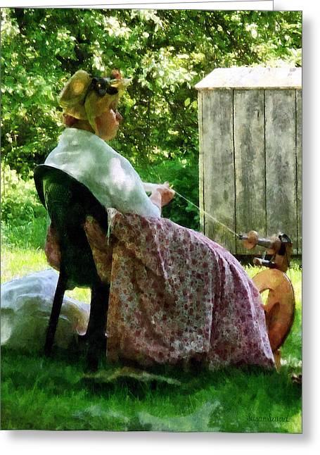 Hat Greeting Cards - Woman Spinning Wool Greeting Card by Susan Savad
