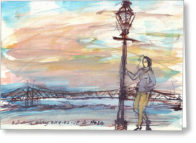 French Door Drawings Greeting Cards - Woman Standing Near Mississippi River Greeting Card by Edward Ching