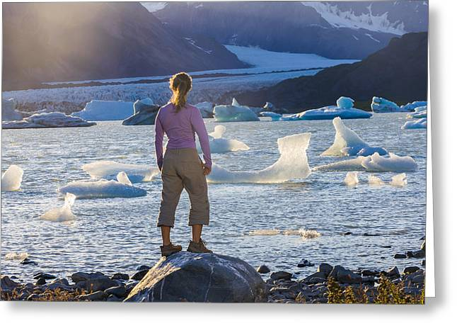 Hair Color Greeting Cards - Woman Standing On A Rock Overlooking An Greeting Card by Michael DeYoung
