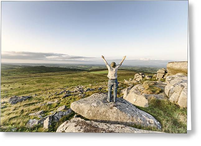 Kernow Greeting Cards - Woman Standing Tor Greeting Card by Helen Hotson