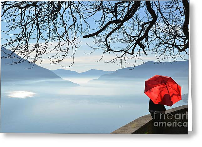 Woman Standing With A Red Umbrella Greeting Card by Mats Silvan