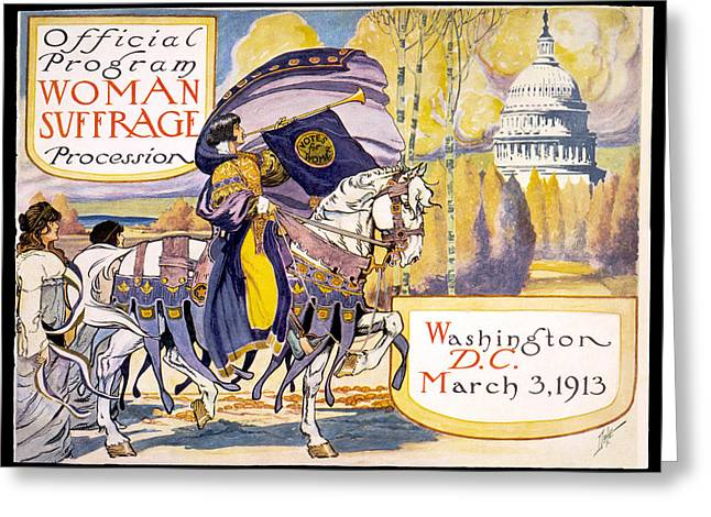 Women Suffrage Greeting Cards - Woman Suffrage Parade  Greeting Card by Celestial Images
