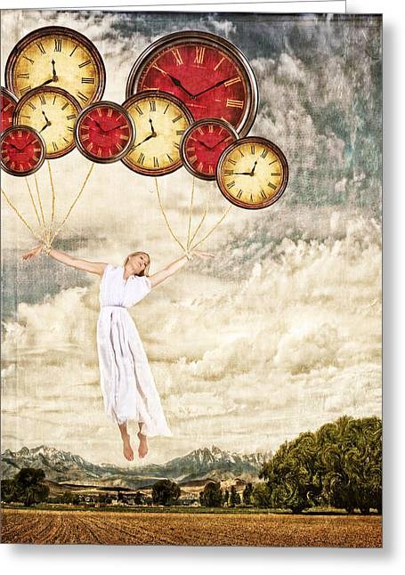 Speed Trap Greeting Cards - Woman tied to clocks floating away Greeting Card by Jennifer Huls