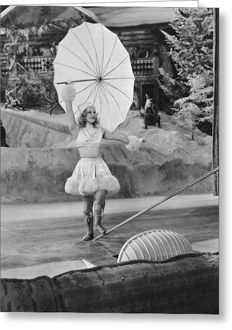 Tightrope Greeting Cards - Woman Tightrope Walker Greeting Card by Underwood Archives