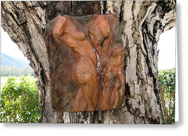Woman torso relief Greeting Card by Flow Fitzgerald