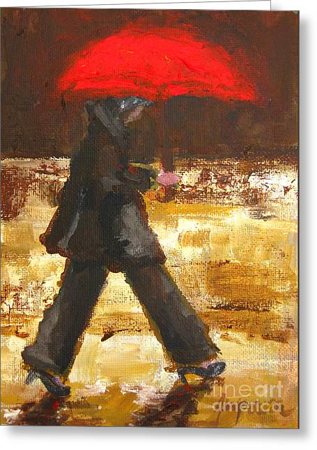 Brown Toned Art Paintings Greeting Cards - Woman under a Red Umbrella Greeting Card by Patricia Awapara