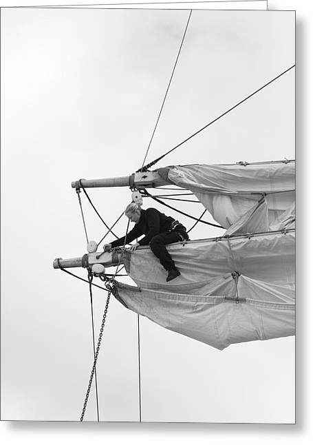 Wooden Ship Greeting Cards - Woman unfastening sails - monochrome Greeting Card by Intensivelight