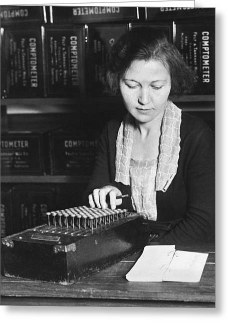 Woman Using A Comptometer Greeting Card by Underwood Archives