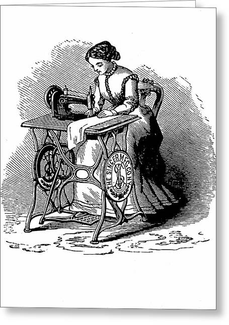 Woman Using Sewing Machine Greeting Card by Universal History Archive/uig