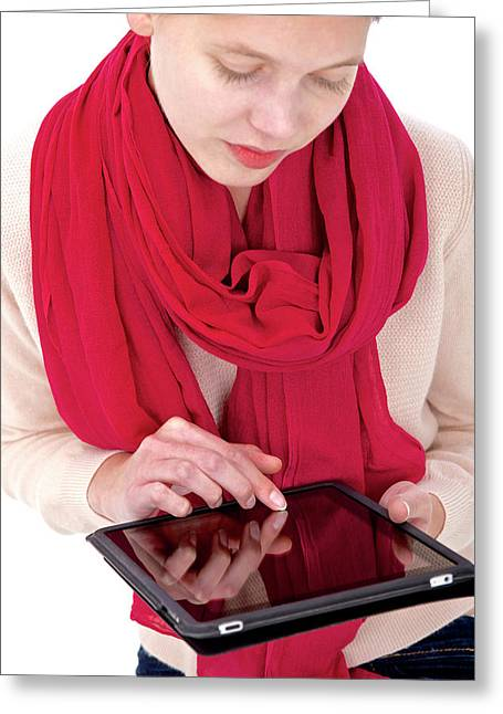 Woman Using Tablet Computer Greeting Card by Lea Paterson
