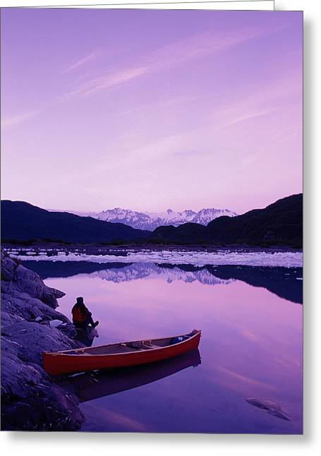 Canoeist Greeting Cards - Woman Viewing Lake Next To Canoe Shoup Greeting Card by Michael DeYoung