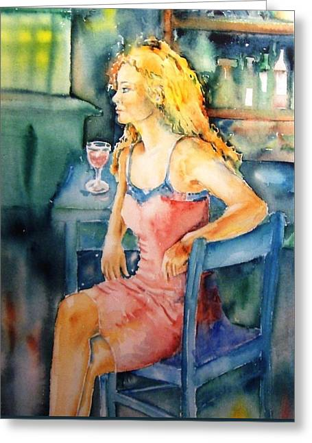 Woman Waiting  Greeting Card by Trudi Doyle