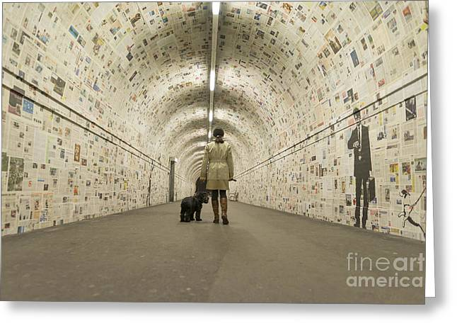 Woman Walking In A Tunnel Greeting Card by Mats Silvan