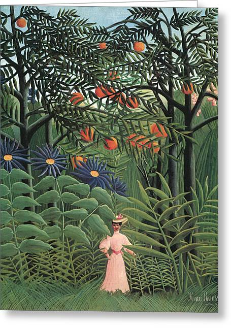Woman In A Dress Paintings Greeting Cards - Woman Walking in an Exotic Forest Greeting Card by Henri Rousseau