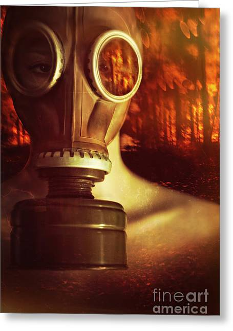 Suffocation Greeting Cards - Woman waring a gas mask with fires raging in background Greeting Card by Sandra Cunningham