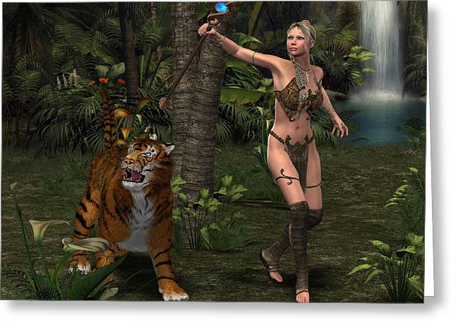 Young Tiger Greeting Cards - Woman Warrior with Tiger Greeting Card by Corey Ford