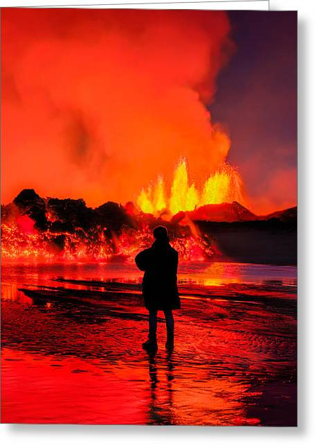 Sulfur Greeting Cards - Woman Watching The Lava Flow Greeting Card by Panoramic Images
