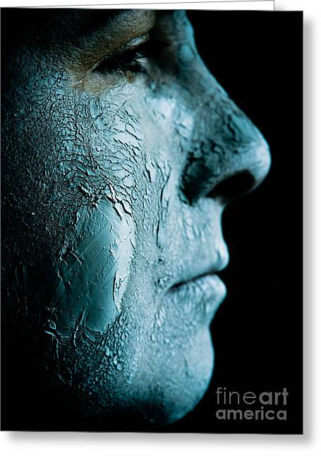 Out-of-date Greeting Cards - Woman Wearing a Green Mud Mask Greeting Card by Amy Cicconi