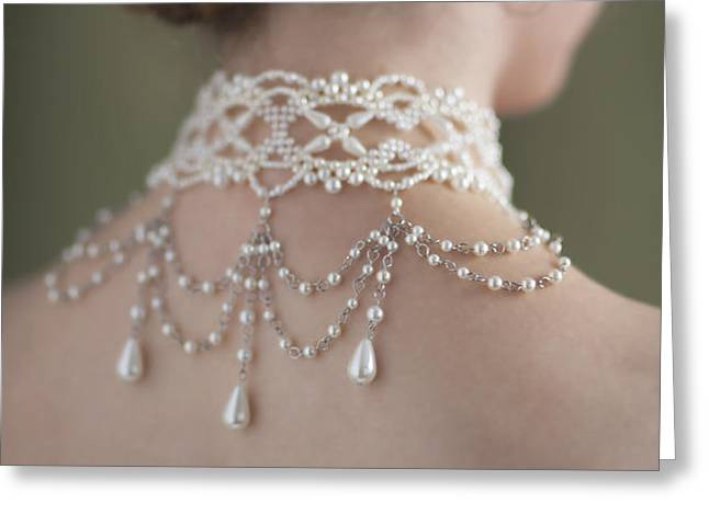 woman wearing a pearl necklace and earring set Greeting Card by Lee Avison