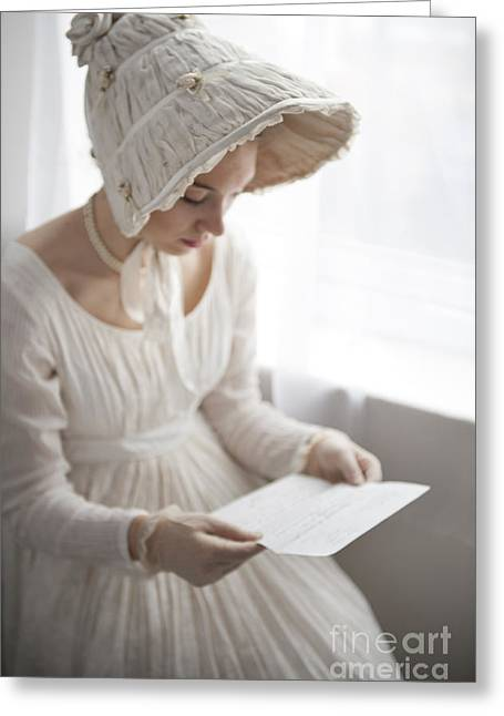 Long Sleeved Dress Greeting Cards - Woman Wearing An Empire Line Regency Dress Reading A Letter Greeting Card by Lee Avison