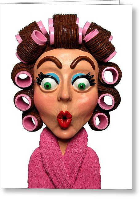 Surprise Greeting Cards - Woman Wearing Curlers Greeting Card by Amy Vangsgard