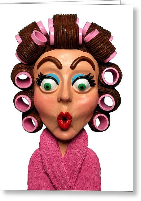 Sculptures Sculptures Greeting Cards - Woman Wearing Curlers Greeting Card by Amy Vangsgard