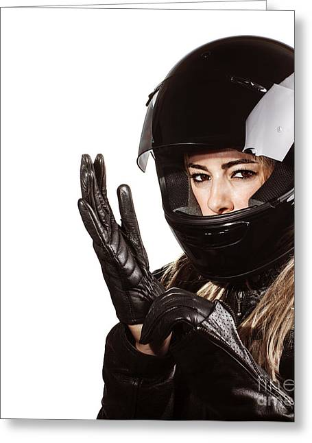 Outfit Greeting Cards - Woman wearing motorsport outfit Greeting Card by Anna Omelchenko