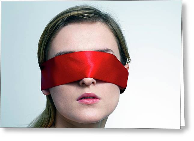 Woman Wearing Red Blindfold Greeting Card by Victor De Schwanberg