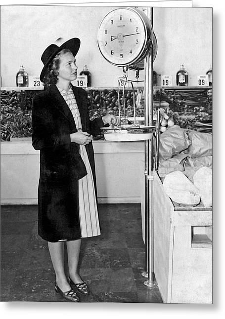Woman Weighing Vegetables Greeting Card by Underwood Archives