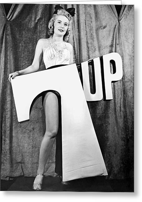 Black 7 White Greeting Cards - Woman With 7 UP Logo Greeting Card by Underwood Archives