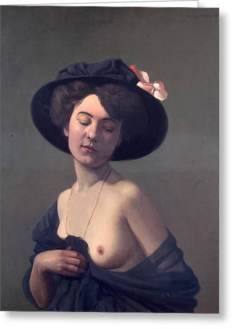 Vallotton Greeting Cards - Woman with a Black Hat Greeting Card by Felix Vallotton