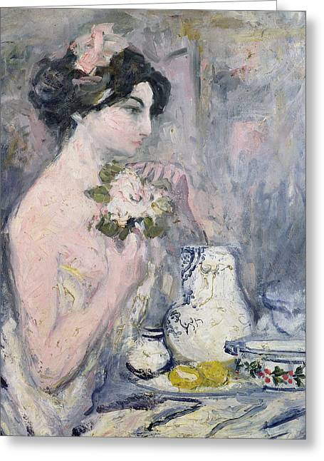 Lost In Thought Paintings Greeting Cards - Woman with a Bouquet Greeting Card by Pierre Laprade