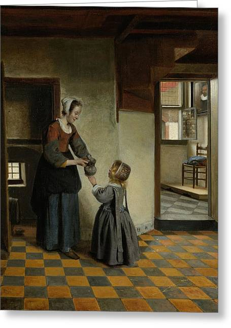 Hooch Greeting Cards - Woman with a Child in a Pantry Greeting Card by Pieter de Hooch